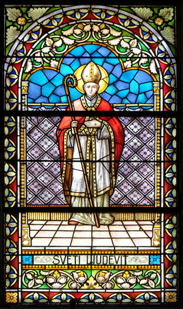 Saint Louis stained glass window in the church of Saint Catherine of Alexandria in Krapina, Croatia