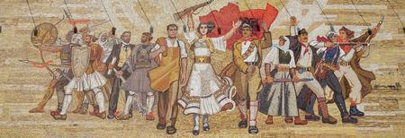 Mosaic above the National History Museum featuring Socialist propaganda and heroic revolutionary, Tirana, Albania Éditoriale