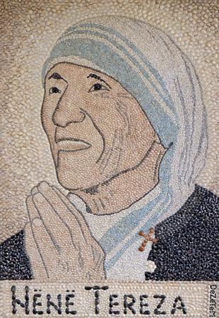 Mother Teresa mosaic in St. Pauls Cathedral in Tirana, Albania