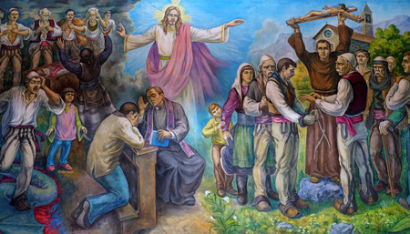 The altarpiece shows the faith of the Albanian people in Jesus Christ in Mother Teresa cathedral in Vau i Dejes, Albania