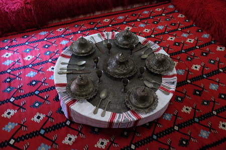 Ethnological museum, artifacts, rug and copper, in Berat, Albania