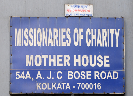 The inscription at the entrance in Mother house, established by Mother Teresa and run by the Missionaries of Charity in Kolkata, India Editorial