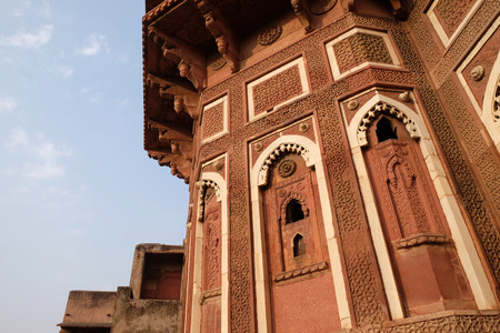 Unique architectural details of Red Fort, Agra, UNESCO World heritage site, India