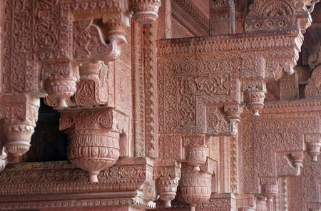 Columns with stone carving in Agra Fort, UNESCO World heritage site in Agra. Uttar Pradesh, India