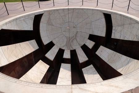 Detail of the Jai Prakash Yantra, a sundial which measures altitudes, azimuths, hour angles and declinations in the Jantar Mantar. Jaipur, Rajasthan, India Editorial