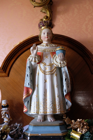 Statue of the Infant of Prague in the Rectory of Saint Francis Xavier in Vugrovec, Croatia