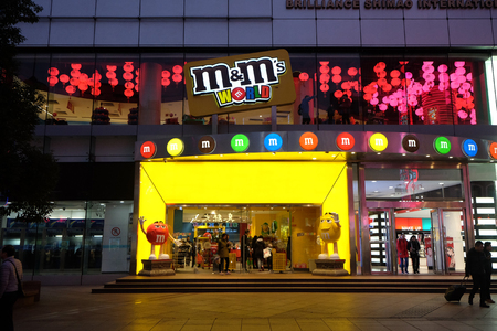 M and Ms shop at the Nanjing Road in Shanghai Editorial