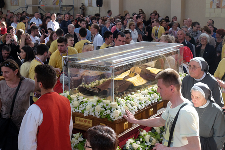 Worshipers gather to look at the relics of St. Leopold Mandic in the parish Church of Saint Leopold Mandic, Zagreb, Croatia on April 16, 2016. Editorial