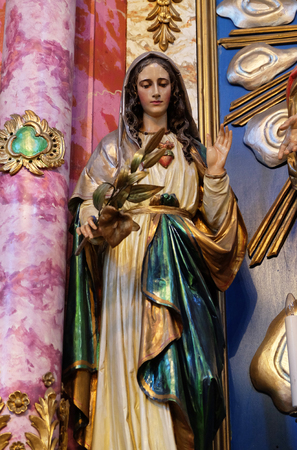 Immaculate Heart of Mary at the altar in the church of Saint Catherine of Alexandria in Krapina, Croatia Editoriali