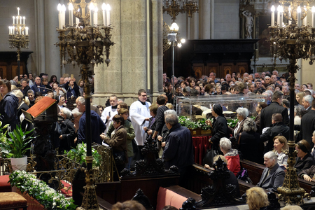 Worshipers gather at the relics of St. Leopold Mandic in Zagreb cathedral, Zagreb, Croatia