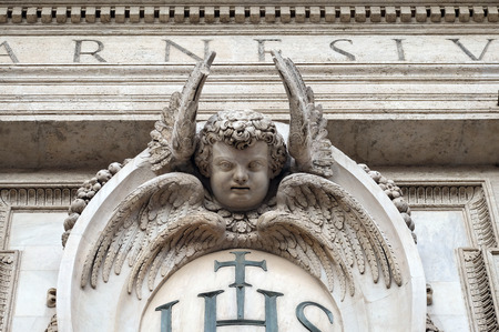 Angel on the facade of the Church of the Gesu, mother church of the Society of Jesus, Rome, Italy Banco de Imagens