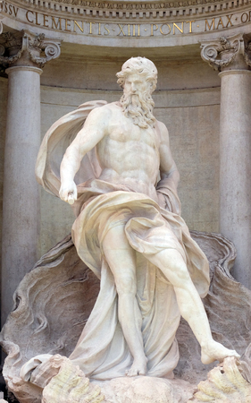 Ocean, the main statue of the Trevi Fountain in Rome. Trevi Fountain is one of the most famous landmark in Rome, Italy.