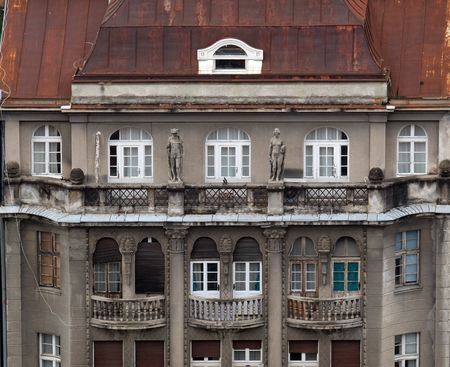 Facade of the old city building in the city center of Zagreb, Croatia