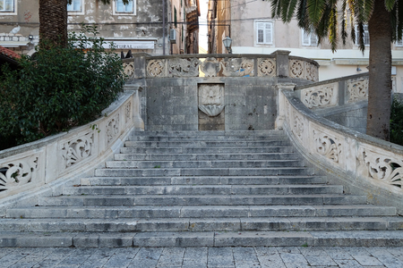 Stairs entrance to the old medieval town of Korcula, Dalmatia, Croatia