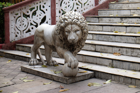 The lions guarding the entrance to the Sree Sree Chanua Probhu Temple in Kolkata, West Bengal, India