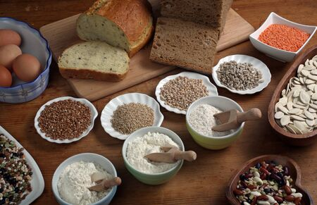 Ingredients for whole grain healthy bread, whole wheat flour