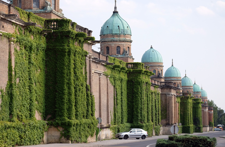 Monumental architecture of Mirogoj cemetery arcades in Zagreb, Croatia Stock Photo