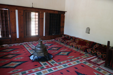 Ethnological museum, artifacts, rug and copper,  in Berat, Albania 新聞圖片