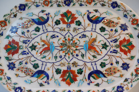 Traditional colorful floral marble tabletops for sale in Agra, Uttar Pradesh, India Editoriali