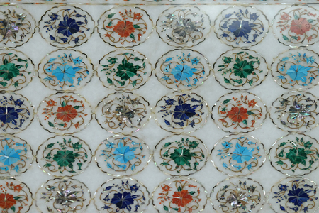 Traditional colorful floral marble tabletops for sale in Agra, Uttar Pradesh, India Editorial