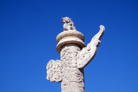 Marble dragon pillar (ornamental column in front of places, tombs), Forbidden city in Beijing, China