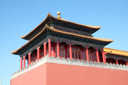 Solemn Tower, The Meridian Gate Wumen in the Forbidden City, Beijing, China Editoriali