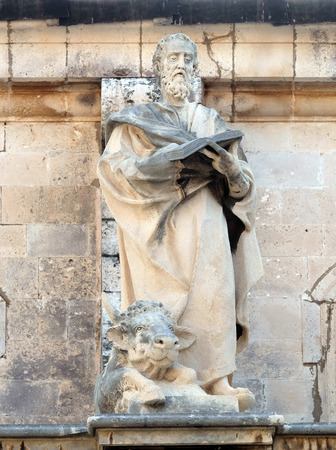Saint Luke the Evangelist on the Cathedral of Assumption of the Virgin Mary in the Old Town of Dubrovnik, Croatia 報道画像