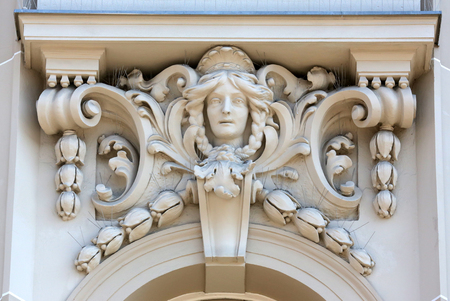 Architectural detail with a mascaron of a young woman, Zagreb, Croatia