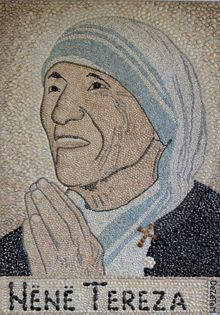 Mother Teresa mosaic in St Pauls Cathedral in Tirana, Albania on September 27, 2016.