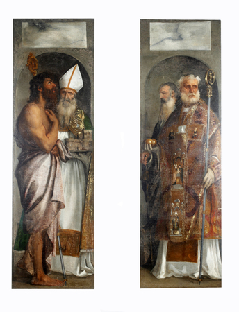 Tiziano Vecellio: St. Lazarus, St. Blaise, St. Nicholas and St. Anthony, Altarpiece in Dubrovnik Cathedral, Croatia Editorial