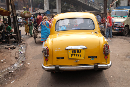 The classical ambassador cab is the unique style of taxi service that imported from British civilization, Kolkata, India on February 10, 2016.