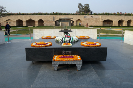 Rajghat, New Delhi. Memorial at Mahatma Gandhis body cremation place, Delhi, India on February, 13, 2016.