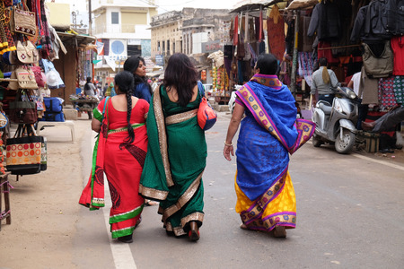 Indian women with traditional colored sari on the street of Pushkar, Rajasthan, India on February 17, 2016. Editorial
