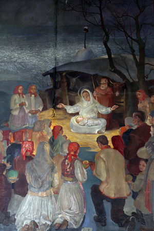 Birth of Jesus, altarpiece in parish church of Saint Mark in Zagreb, Croatia