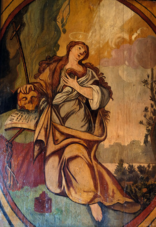 Saint Mary Magdalene, altarpiece in the Church of the Saint Barbara in Velika Mlaka, Croatia Editorial