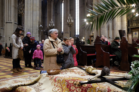 The crucifix in front of Gods tomb, was exhibited on Holy Saturday and prepared for veneration in the Zagreb Cathedral on April 04, 2015 Editorial