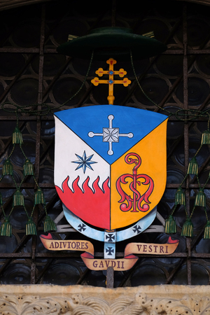 Coat of Arms of Erio Castellucci archbishop of Modena-Nonantola, Italy Stok Fotoğraf