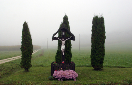 Roadside Crucifix in Zagorje region, Croatia