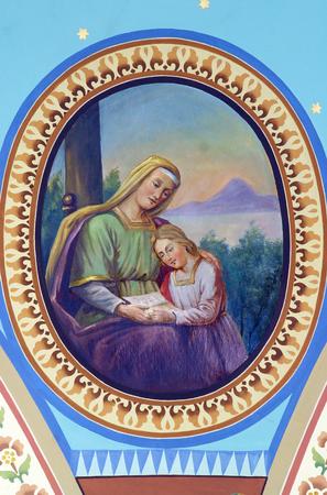Saint Anne with the Virgin Mary, fresco in the Parish Church of the Holy Cross in Zacretje, Croatia Redakční