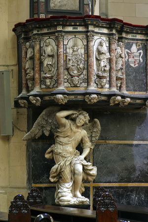 Pulpit in Zagreb cathedral dedicated to the Assumption of Mary