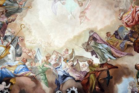 Jugement dernier et glorification de l'ordre bénédictin, détail de la fresque de Matthaus Gunther dans l'église du monastère bénédictin à Amorbach, Allemagne
