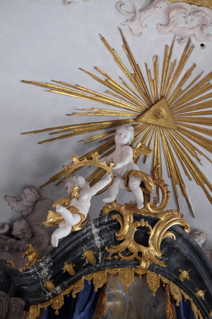 Angel statues in Amorbach Benedictine monastery church in the district of Miltenberg in Lower Franconia in Bavaria, Germany