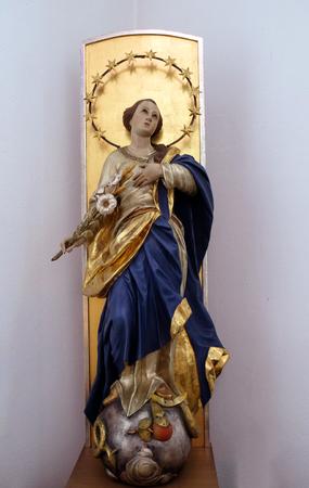 Virgin Mary, statue in the Chapel of St. Francis in Ellwangen, Germany