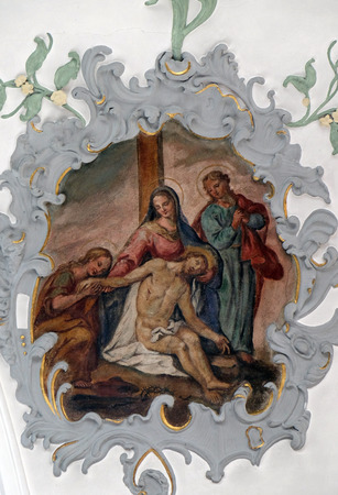 Lamentation of Christ, fresco on the ceiling of the Church of Our Lady of Sorrows in Rosenberg, Germany Editorial