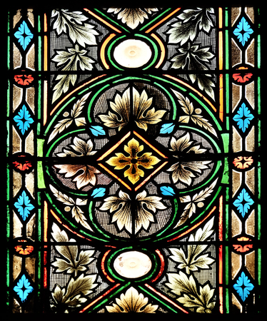 Stained glass in Zagreb cathedral dedicated to the Assumption of Mary Editorial