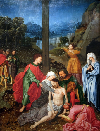 Descent from the Cross, studio of Joos van Cleve, oil on wood, 16 century, the Passion in Art from Mimara Museum in Zagreb, Croatia