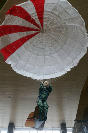Paratrooper in Nikola Tesla Technical Museum in Zagreb, Croatia Editorial