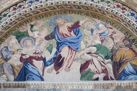 Ascension, mosaic on the upper right arch of the facade of St. Mark's Basilica, St. Mark's Square, Venice, Italy, UNESCO World Heritage Sites