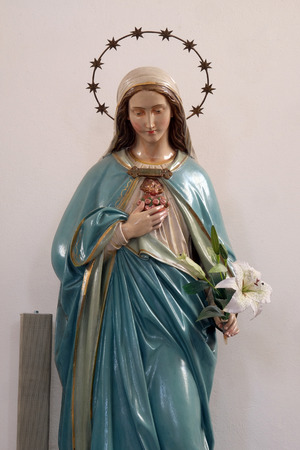 Immaculate Heart of Mary statue in the Church of Assumption of the Virgin Mary in Pokupsko, Croatia