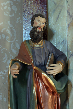 Saint Paul, statue on the altar of Our Lady of Sorrows in Saints Cosmas and Damian church in Vrhovac, Croatia Editorial
